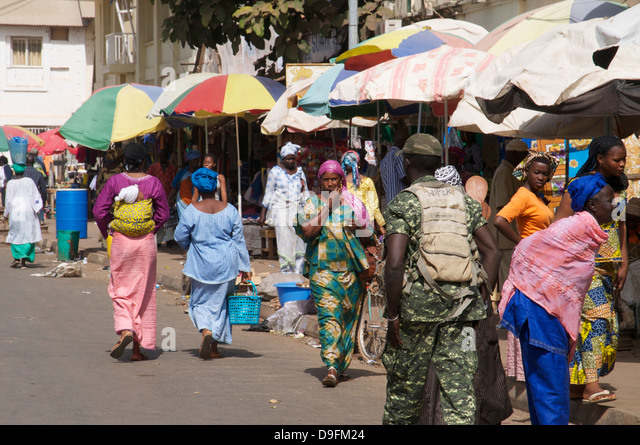 Royal Albert Market, Banjul, Gambia, West Africa, Africa - Stock-Bilder
