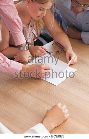 Desk team men woman meeting Cooperation concept - Stock Image