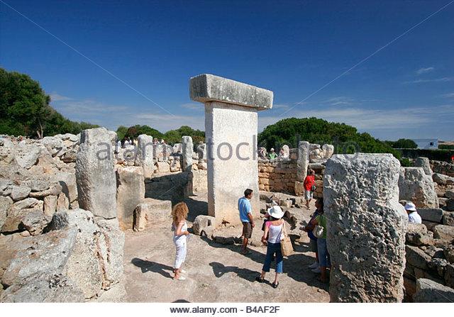 Ancient Remains Of Talayotic Sanctuary And Taula 306-3410, Minorca. - Stock Image