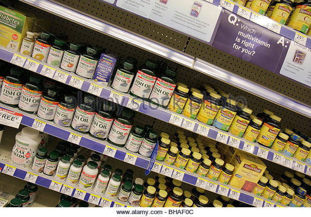Miami Florida City Florida Walgreens pharmacy drug store chain business product display brand dietary supplement - Stock Image