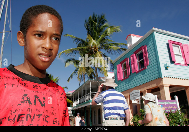 BVI Tortola Frenchmans Cay Soper's Hole Wharf and Marina Black boy - Stock Image