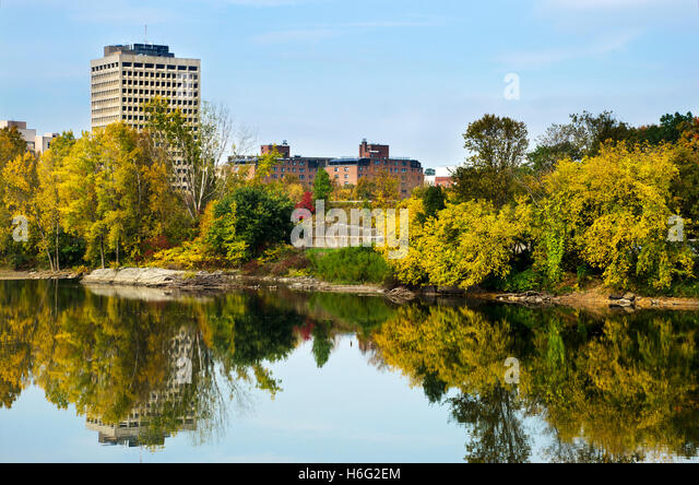 Susquehanna river Binghamton office building scenic skyline Broome County Southern Tier Region upstate New York, - Stock Image