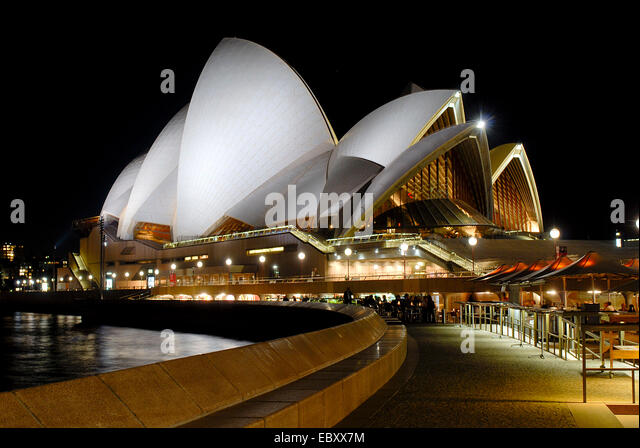Sydney Opera House at night, Australia, New South Wales, Sydney - Stock Image