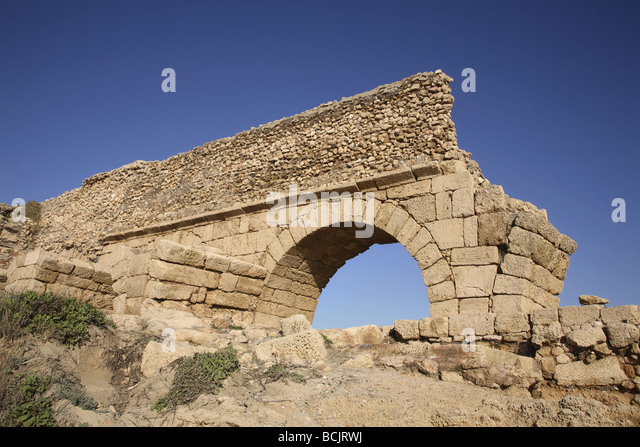 Roman aqueduct at caesarea israel - Stock Image