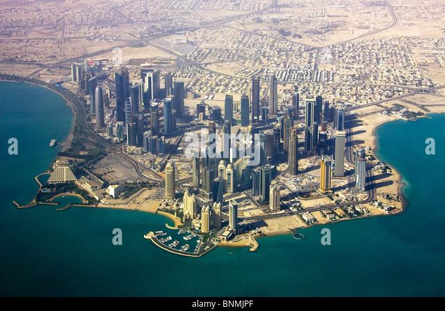 Qatar UAE United Arab Emirates architecture block of flats high-rise building Doha skyline blocks of flats high - Stock Image