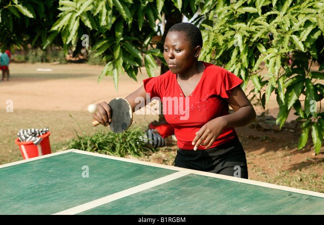 Table tennis in an HIV help group, Bafut, Cameroun, Africa - Stock Image