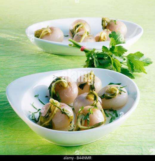Small turnips with parsley - Stock-Bilder