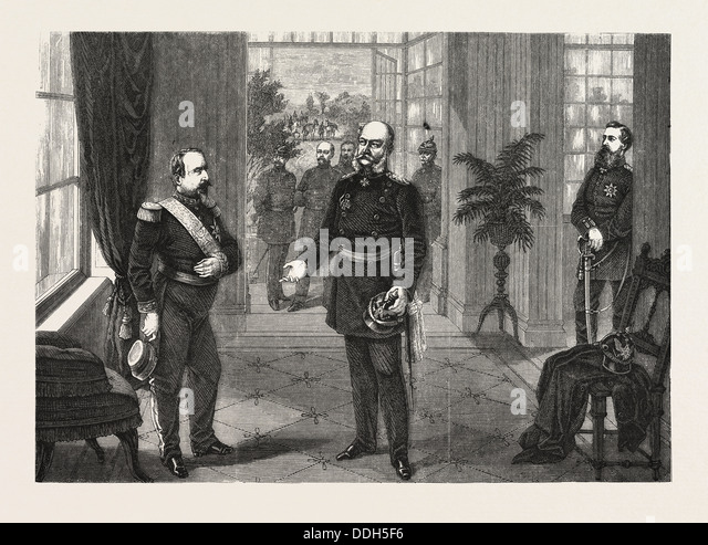 FRANCO-PRUSSIAN WAR: KING WILLIAM AND THE EMPEROR NAPOLEON AT THE CHATEAU DE BELLEVUE NEAR SEDAN, SEPTEMBER 2 1870 - Stock-Bilder