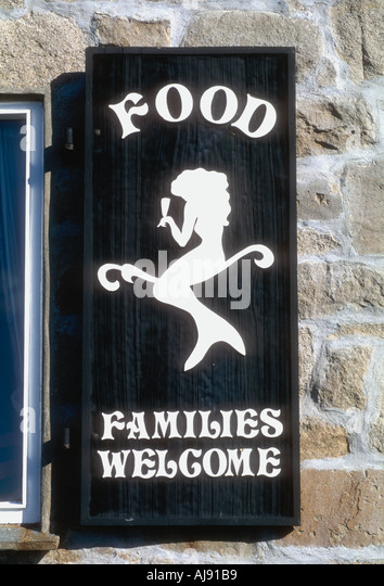 Advert on window shutter at the Mermaid pub on St Marys island Isles of Scilly England UK - Stock Image