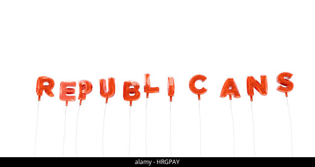 REPUBLICANS - word made from red foil balloons - 3D rendered.  Can be used for an online banner ad or a print postcard. - Stock Image