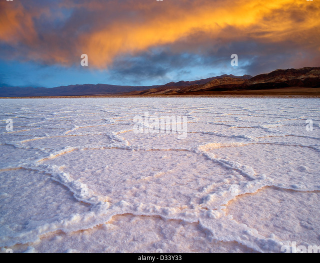 Salt polygons. Near Badwater. Death Valley National Park, California. - Stock Image