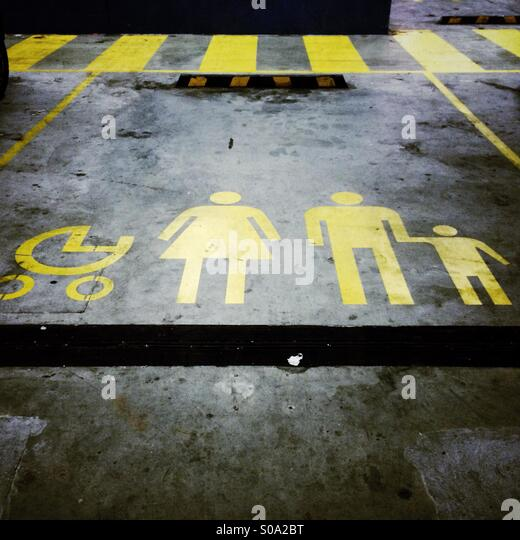 Parking spot reserved for families with prams - Stock Image