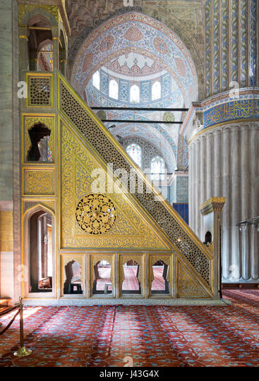 Aged Marble floral ornate mimber (Platform), Sultan Ahmet Mosque, Istanbul, Turkey - Stock Image