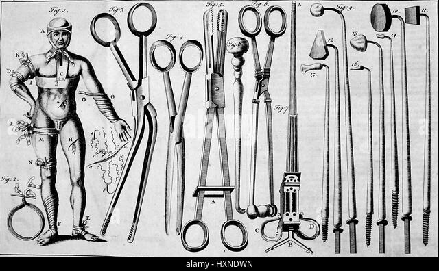 Medical illustration depicting various surgical implements, as well as an illustration of a human figure standing - Stock Image