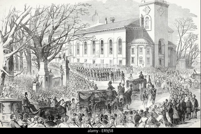 The Funeral Cortege, at Boston, Massachusetts of the Sixth Massachusetts soldiers killed at Baltimore, 1861. USA - Stock Image