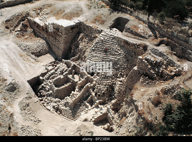 CITY OF DAVID, AREA G'  WITH THE SUPPORTING WALL OF  A 10TH. C. BC. STRUCTURE - Stock Image