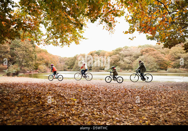 Family riding bicycles in park - Stock-Bilder