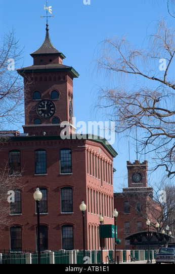 The Millyard a red brick former textile mill converted to condominiums Nashua New Hampshire United States - Stock Image