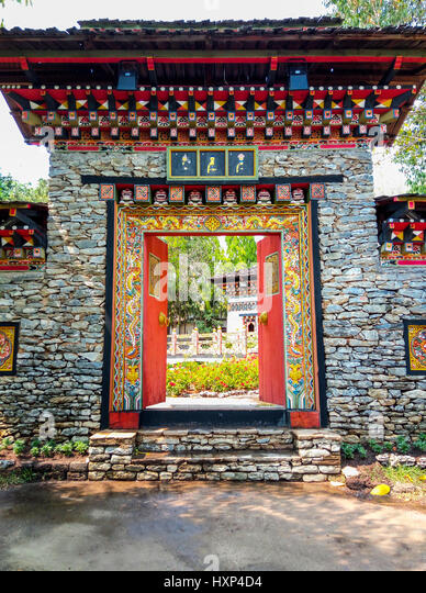 Beautiful Bhutan Traditional Style Entrance at Religious Temple - Stock Image