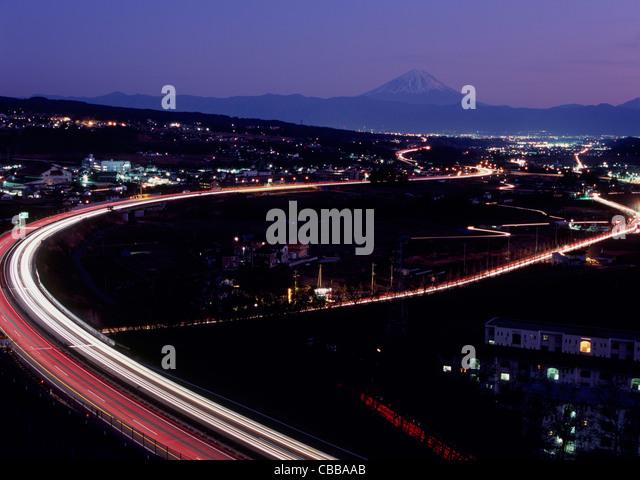 Night View of Chuo Expressway and Mount Fuji, Hokuto, Yamanashi, Japan - Stock Image
