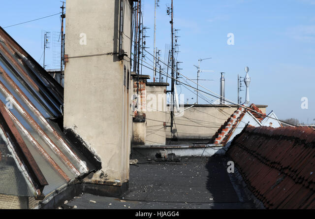 city, town, rusty, old, corroded, firmament, sky, chimney, drainpipe, - Stock Image