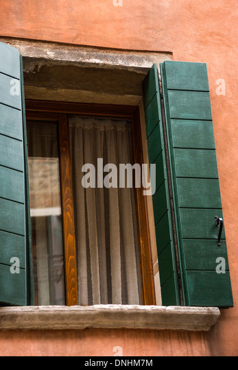 Low angle view of a open window, Venice, Veneto, Italy - Stock-Bilder