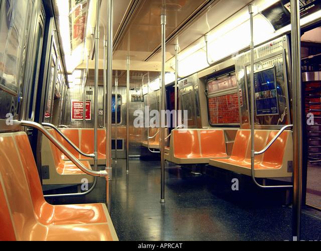 Empty New York City Subway Car - Stock Image