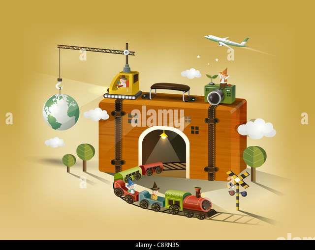 Train Coming Out From Suitcase Tunnel - Stock Image