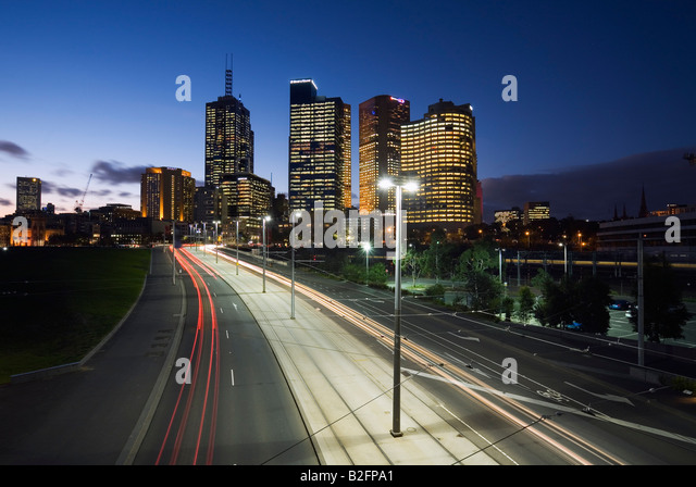 Traffic trails - Melbourne, Victoria, AUSTRALIA - Stock Image