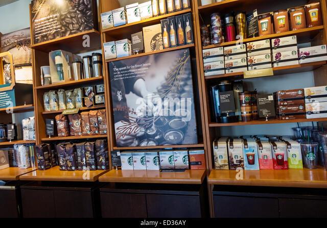 Springfield Illinois Starbucks Coffee cafe inside interior shelves display sale - Stock Image