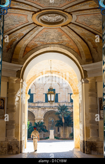 Malta, Valletta, the Presidential Palace Entrance - Stock Image