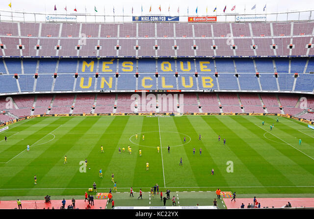Barcelona, Spain. The game was played in an empty stadium as a protest by Barcelona on the day of a disputed independence - Stock Image
