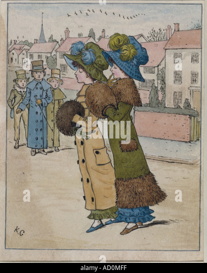 Fashion parade by Kate Greenaway. England, late 19th century. - Stock Image