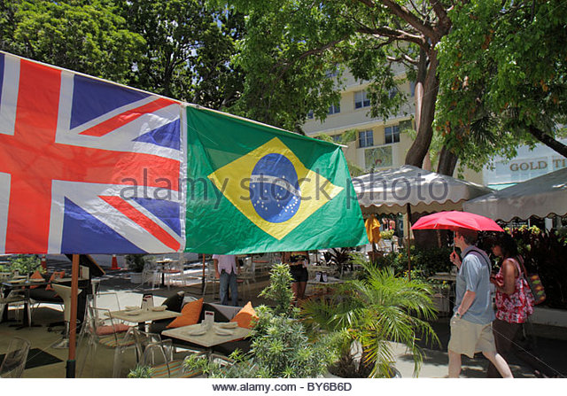 Miami Beach Florida Lincoln Road pedestrian mall shopping dining flag Union Jack UK United Kingdom Brazilian - Stock Image
