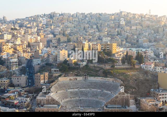 Roman amphitheatre, & city, Amman, Jordan - Stock Image