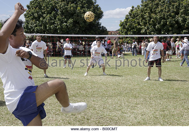 Malaysia Sepak Takraw kick volleyball sport men players competition - Stock Image