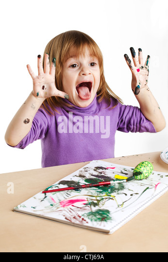 child painting - Stock Image