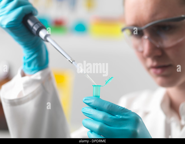 Laboratory worker pipetting sample into an eppendorf vial - Stock-Bilder