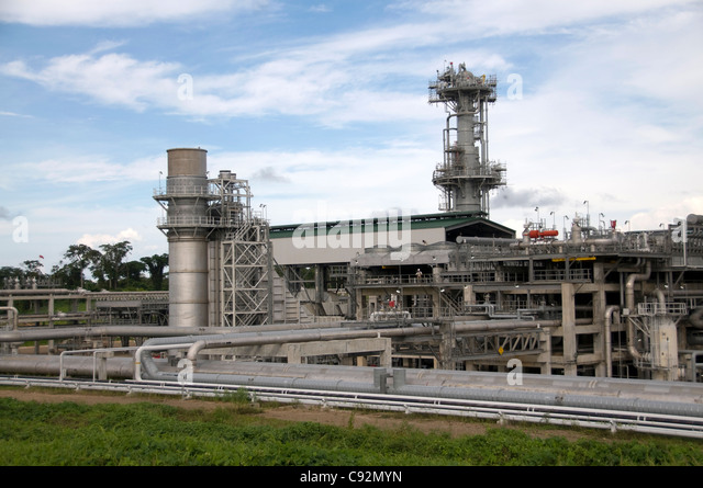 The Tangguh LNG Liquified Natural Gas Plant is a large industrial processing site near Babo in West Papua on IrianJaya. - Stock Image
