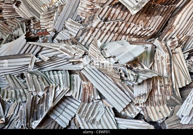 Recycling, corrugated aluminum sheeting - Stock Image