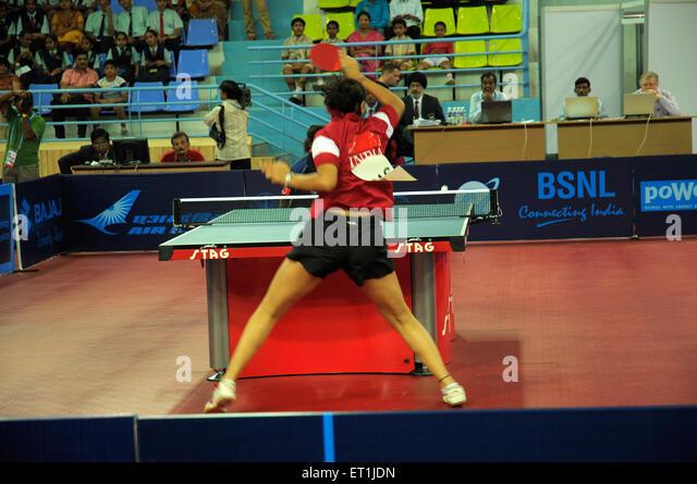 Neha aggarwal playing table tennis ; Pune ; Maharashtra ; India 15 October 2008 NOMR - Stock Image