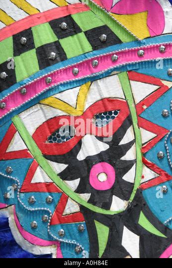 Coconut Grove Florida Grand Avenue Bahamas Goombay Festival Black parade mask costume - Stock Image