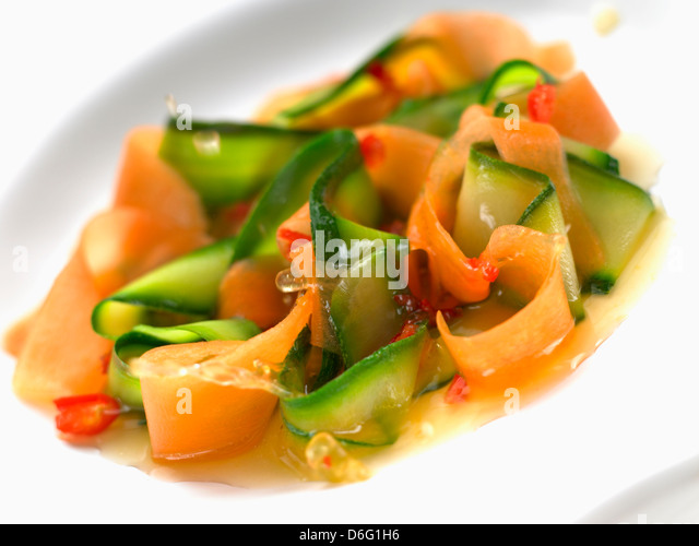 Courgette and Carrot with thai dressing - Stock Image