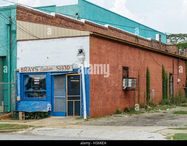 Brays barber shop in Tuskegee, Alabama. - Stock Image