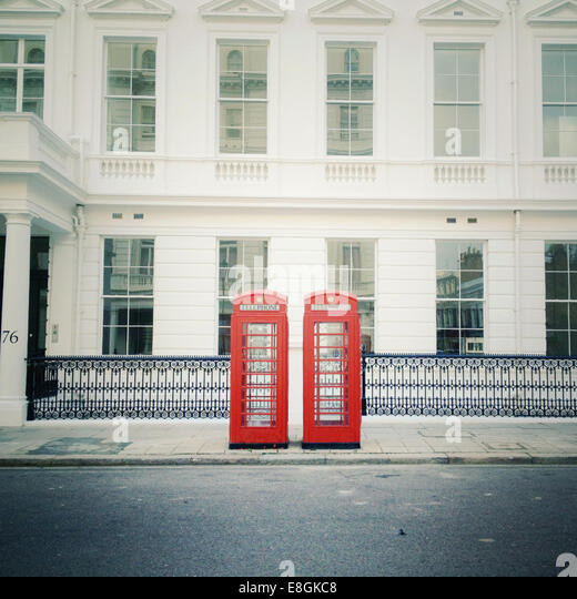 United Kingdom, London, Telephone boxes - Stock Image