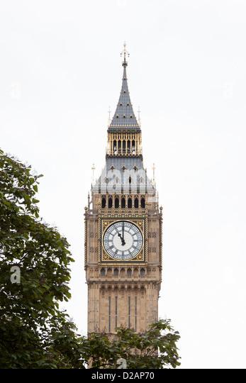 Big Ben clock tower with tree - Stock Image