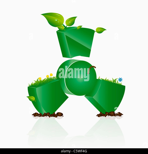 Green atom sign with nature elements against white background, illustration - Stock Image