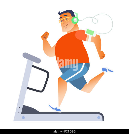 Fat man on a stationary treadmill - Stock Image
