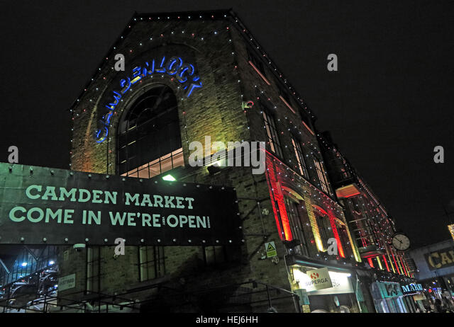 Camden Market at Night, North London, England, UK - Stock Image