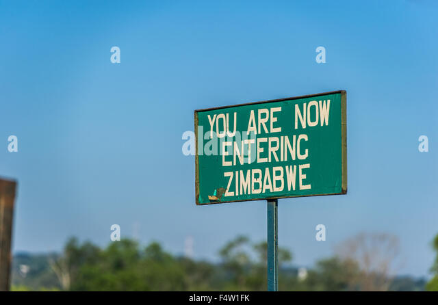 Victoria Falls, Zimbabwe - Sign on the border of Zimbabwe. - Stock Image